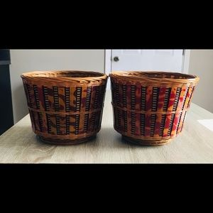 Two Beautiful Vintage Style Whicker Baskets